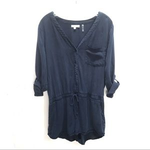 EUC Navy Blue V-Neck Long-Sleeved Romper Size Lg
